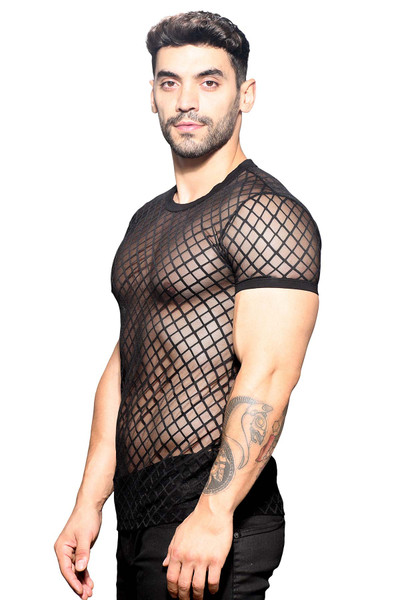 Andrew Christian Lattice Lace Crew Neck Tee 10315 - Mens T-Shirts - Side View - Topdrawers Clothing for Men