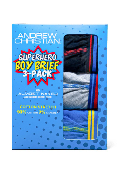 Andrew Christian 3-Pack Superhero Boy Brief w/ Almost Naked 92029 - Mens Briefs - Front View - Topdrawers Underwear for Men