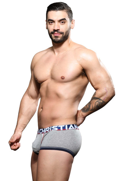 Andrew Christian CoolFlex Modal Active Boxer w/ Show-It 92085-HEA Heather Grey - Mens Boxer Briefs - Side View - Topdrawers Underwear for Men