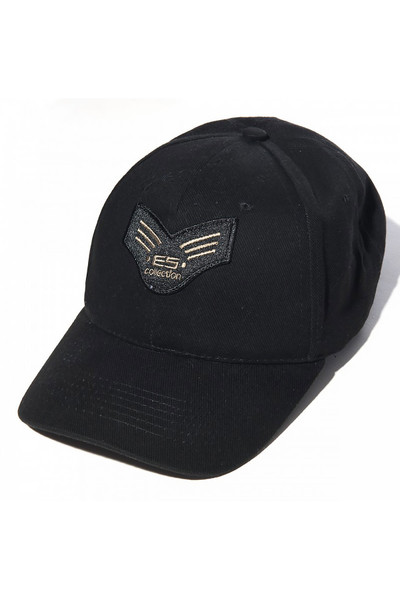 ES Collection Army Cap CAP006-10 Black - Mens Caps - Front View - Topdrawers Clothing for Men