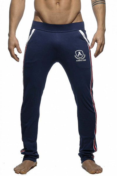 Addicted Long Tight Pant Intercotton AD335-09 Navy Blue - Mens Athletic Pants - Front View - Topdrawers Clothing for Men