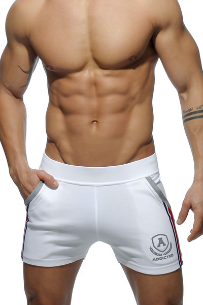 Addicted Short Tight Pant Intercotton AD337-01 White - Mens Athletic Shorts - Front View - Topdrawers Clothing for Men