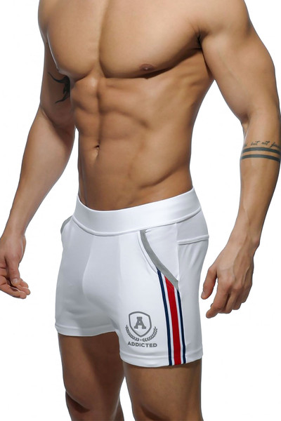 Addicted Short Tight Pant Intercotton AD337-01 White - Mens Athletic Shorts - Side View - Topdrawers Clothing for Men