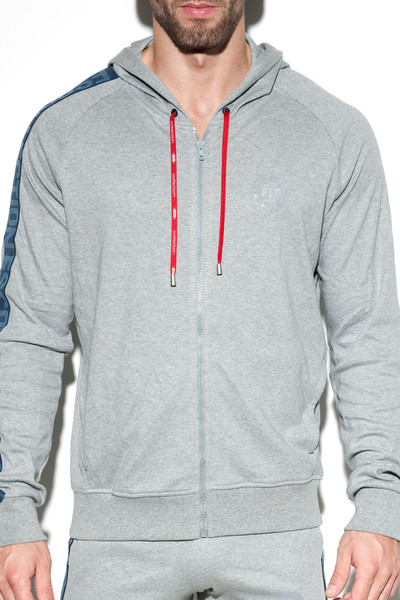 ES Collection Fit Cotton Jacket SP192-11 Heather Grey - Mens Athletic Hoodies - Front View - Topdrawers Clothing for Men