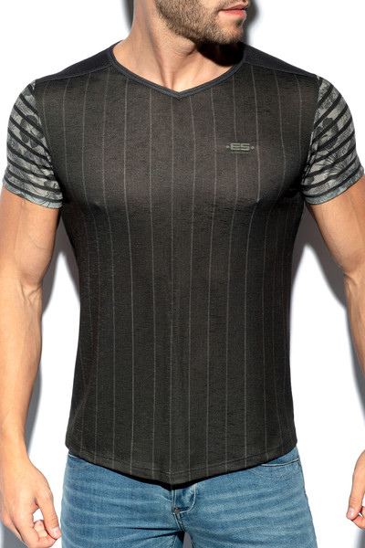 ES Collection Flowery Striped T-Shirt TS281-10 Black - Mens T-Shirts - Front View - Topdrawers Clothing for Men
