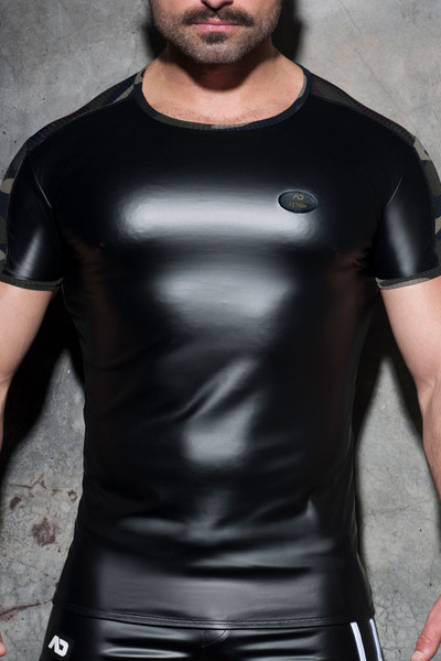 Addicted Fetish Rub Mesh T-Shirt ADF117-17 Camouflage - Mens T-Shirts - Front View - Topdrawers Clothing for Men