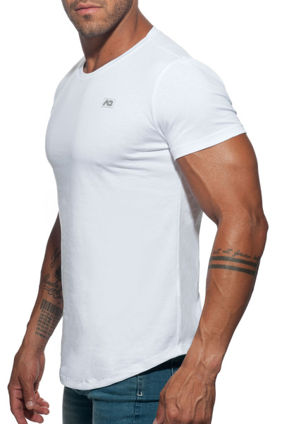 Addicted Basic U-Neck T-Shirt AD696-01 White - Mens T-Shirts - Side View - Topdrawers Clothing for Men