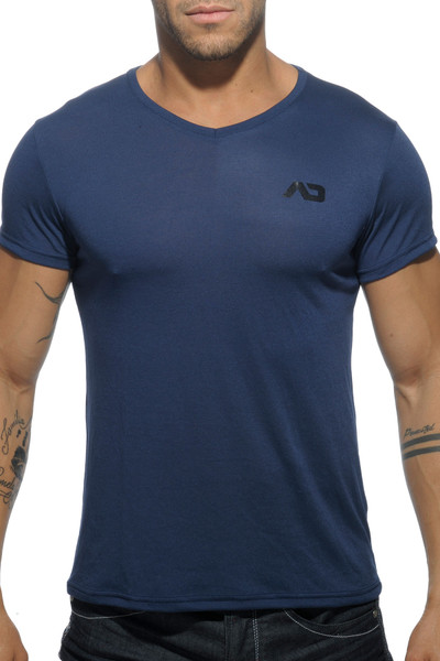 Addicted Basic V-Neck AD423-09 Navy Blue - Mens T-Shirts - Front View - Topdrawers Clothing for Men