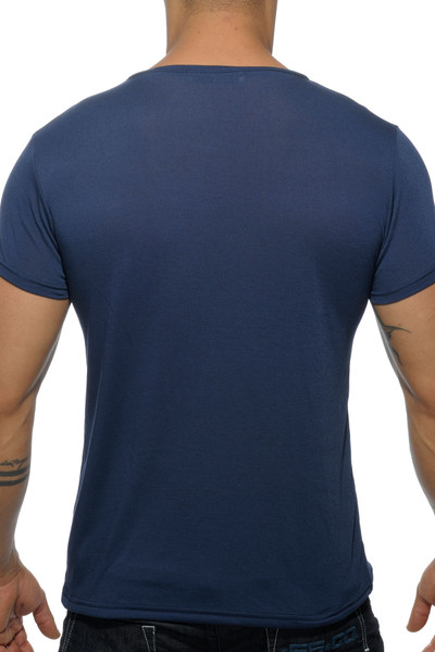 Addicted Basic V-Neck AD423-09 Navy Blue - Mens T-Shirts - Rear View - Topdrawers Clothing for Men