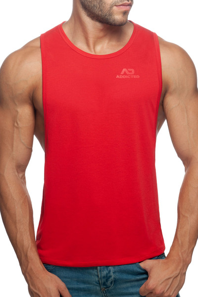 Addicted AD Low Rider Tank Top AD957-06 Red - Mens Tank Tops - Front View - Topdrawers Clothing for Men