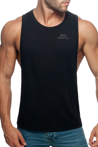 Addicted AD Low Rider Tank Top AD957-10 Black - Mens Tank Tops - Front View - Topdrawers Clothing for Men
