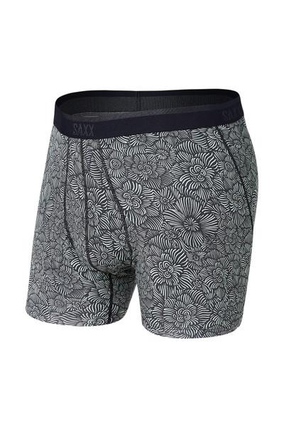 Saxx Platinum Boxer Brief w/ Fly SXBB42F-IFS India Ink Flora Sketch - Mens Boxer Briefs - Front View - Topdrawers Underwear for Men