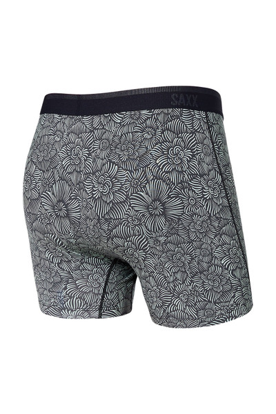 Saxx Platinum Boxer Brief w/ Fly SXBB42F-IFS India Ink Flora Sketch - Mens Boxer Briefs - Rear View - Topdrawers Underwear for Men