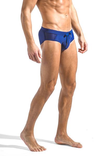 ST33LE Relay Side Mesh Swim Brief | Blue Glass ST-8003-BUGL - Mens Swim Briefs - Side View - Topdrawers Swimwear for Men