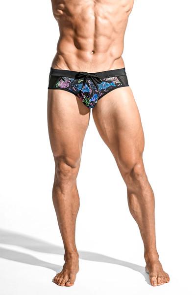 ST33LE Relay Side Mesh Swim Brief | Black/Multi Shells ST-8003-65 - Mens Swim Briefs - Front View - Topdrawers Swimwear for Men