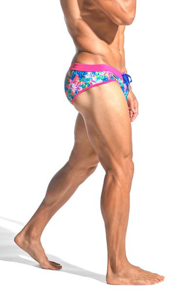 ST33LE Freestyle Swim Brief | Fuchsia/Royal Floral ST-8000-61 - Mens Swim Briefs - Side View - Topdrawers Swimwear for Men