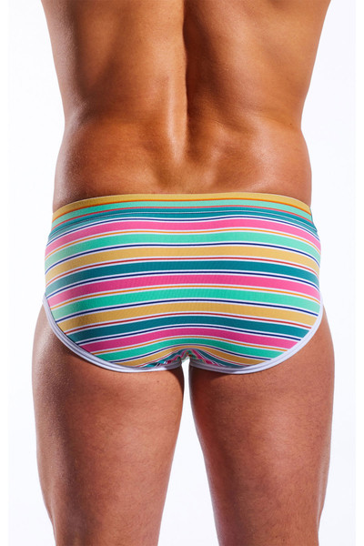 Cocksox Sports Brief CX76N-CCS Cape Canaveral Stripe - Mens Briefs - Rear View - Topdrawers Underwear for Men