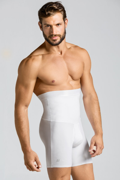 Leo High Waist Stomach Shaper with Boxer Brief 033284 White from Topdrawers Underwear - Large View
