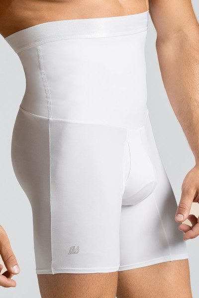Leo High Waist Stomach Shaper with Boxer Brief 033284 White from Topdrawers Underwear - Close Large View