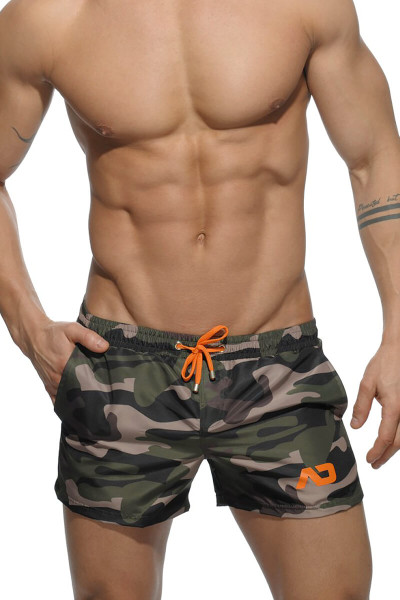 17 Camouflage - Addicted Camouflage Printed Swim Short ADS096 Front View - Topdrawers Swimwear for Men