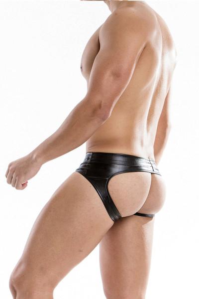Black - Modus Vivendi Leather Bottomless Brief 20514 - Rear View - Topdrawers Underwear for Men