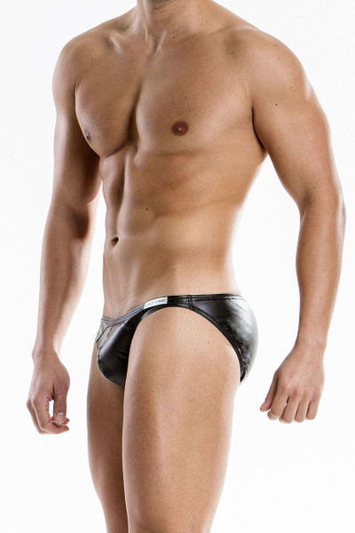 Black - Modus Vivendi Leather Brief 20513 - Side View - Topdrawers Underwear for Men