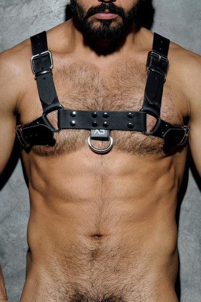 10 Black - Addicted Fetish Leather Harness ADF30 - Front View - Topdrawers Menswear