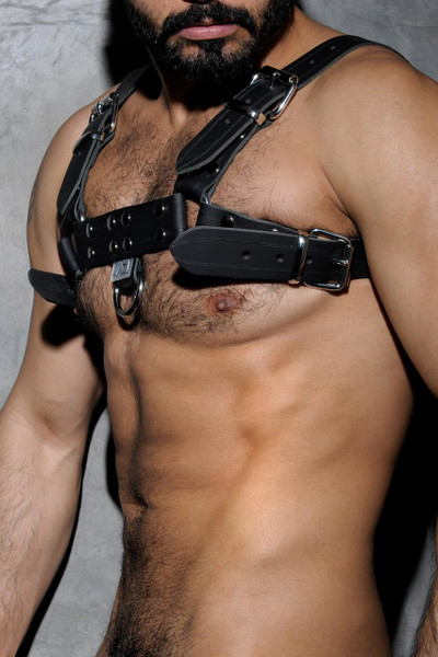 10 Black - Addicted Fetish Leather Harness ADF30- Side View - Topdrawers Menswear