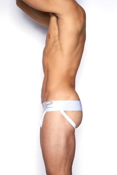 100 White - C-IN2 Core Jock Strap 4025 - Side View - Topdrawers Underwear for Men
