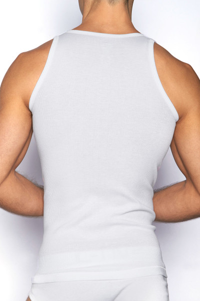 100 White - C-IN2 Core Square Neck Tank 4127 - Rear View - Topdrawers Underwear for Men
