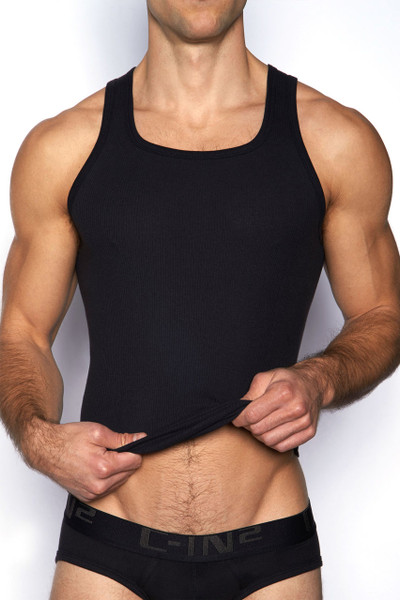 001 Black - C-IN2 Core Square Neck Tank 4127 - Front View - Topdrawers Underwear for Men