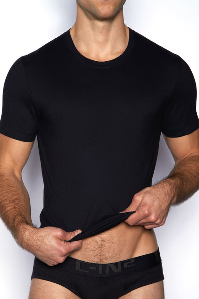 001 Black - C-IN2 Core Crew Neck T-Shirt 4105 - Front View - Topdrawers Underwear for Men