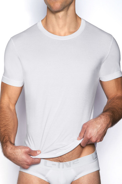 100 White - C-IN2 Core Crew Neck T-Shirt 4105 - Front View - Topdrawers Underwear for Men
