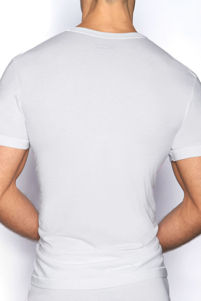 100 White - C-IN2 Core High V-Neck T-Shirt 4110 - Rear View - Topdrawers Underwear for Men