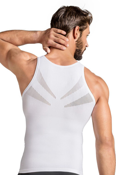 000 White - Leo Seamless Control Tank 35010 - Rear View - Topdrawers Underwear for Men