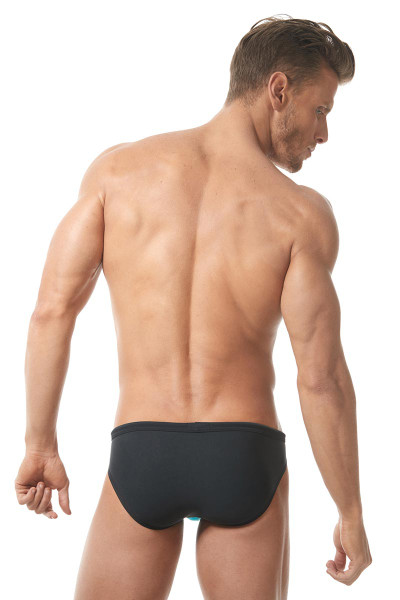 Aqua/Black - Gregg Homme Sea Reef Swim Brief 151303 - Rear View - Topdrawers Swimwear for Men