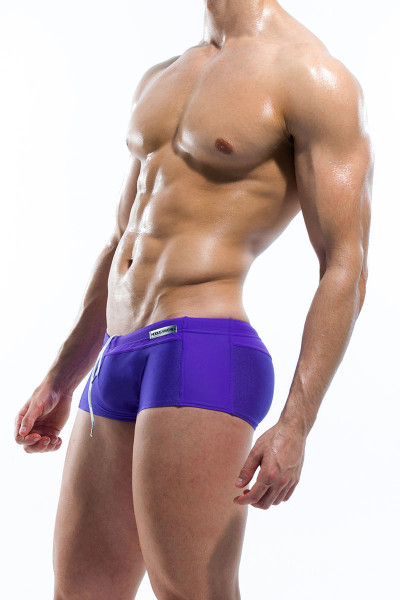 Purple - Modus Vivendi Contrast Swim Boxer S1625 - Side View - Topdrawers Swimwear for Men