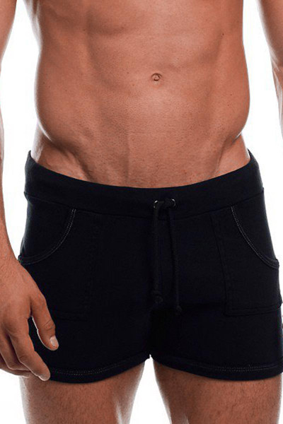"Black - Go Softwear 9"" Sport Short w/ Pockets 4641- Front View - Topdrawers Menswear"
