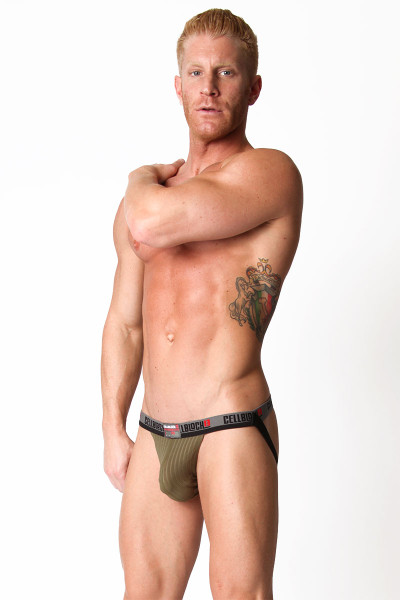 Army Green - CellBlock 13 Ward13 Seamless Jockstrap CBU106 - Side View - Topdrawers Underwear for Men