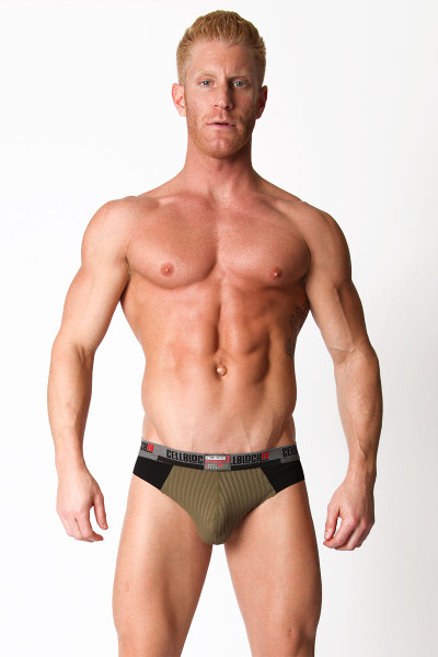 Army Green - CellBlock 13 Ward13 Seamless Jock Brief CBU107 - Front View - Topdrawers Underwear for Men