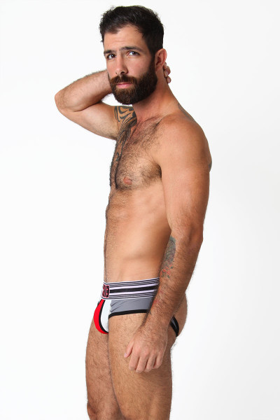 Red/White/Grey - CellBlock 13 Cellmate Jock Brief CBU111 - Side View - Topdrawers Underwear for Men
