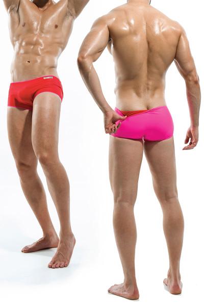 Red/Fuchsia - Modus Vivendi Double Face Reversible Swim Boxer S1622 - Dual View - Topdrawers Swimwear for Men