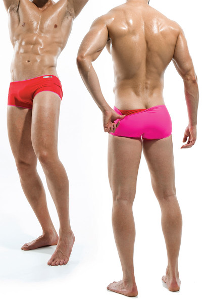 Red/Fuchsia - Modus Vivendi Double Face Reversible Swim Boxer S1622 - Dual View - Topdrawers Swimwear for Men