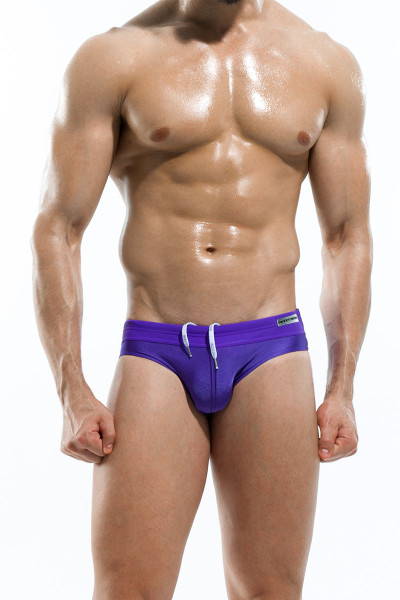 Purple - Modus Vivendi Contrast Swim Brief S1615 - Front View - Topdrawers Swimwear for Men