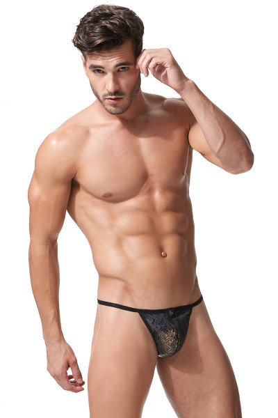 Black - Gregg Homme Century String 152314 - Front View - Topdrawers Underwear for Men