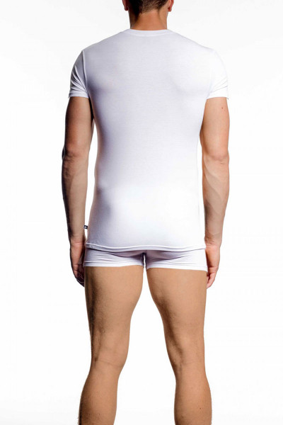 002 White - JM NATURA Crew Neck T-Shirt 90381 - Rear View - Topdrawers Underwear for Men