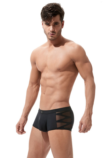 Black - Gregg Homme High-Line Boxer Brief 160205 - Front View - Topdrawers Underwear for Men