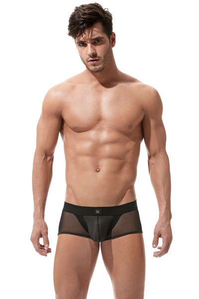 Black - Gregg Homme Avant-Garde Boxer Brief 160405 - Front View - Topdrawers Underwear for Men