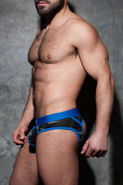 16 Royal Blue - Addicted Fetish Camo Stripe Fetish Brief ADF62 - Side View - Topdrawers Fetish Underwear for Men
