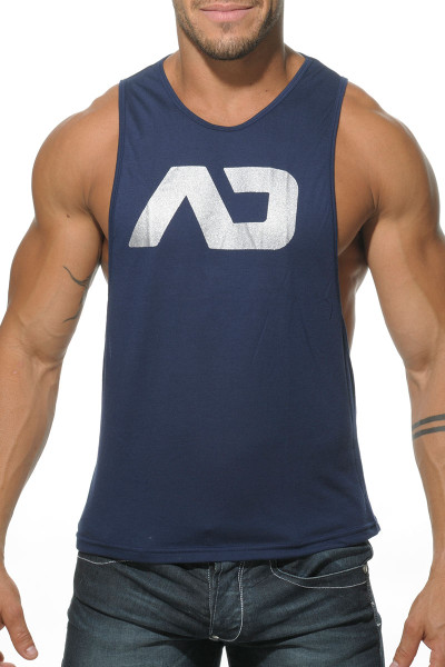 09 Navy - Addicted AD Low Rider Tank Top AD043 - Front View - Topdrawers Menswear